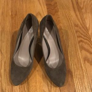 Nine West gray suede and leather heels